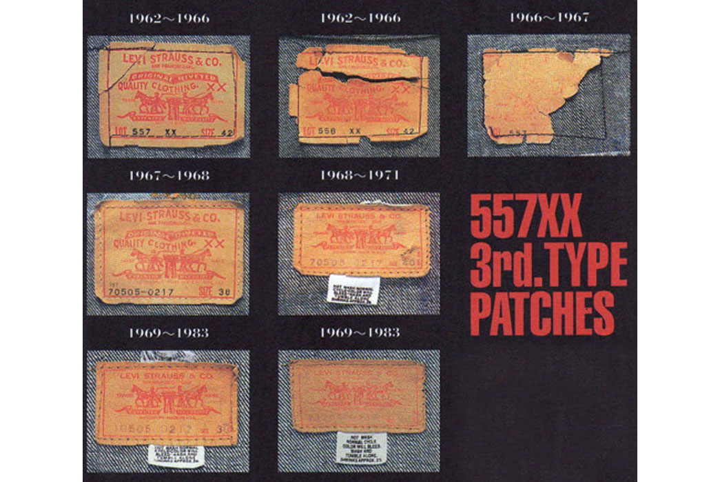 The evolution of 557XX, Type III jacket-patches. Notice how the label get's smaller at the end of the 1960s, and notice the care label on the 70s labels. Image via Midwest Vintage.