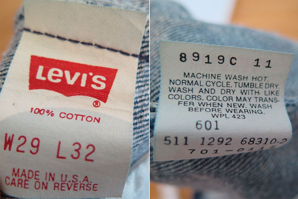 "Label on a pair of 1987 Levi's 501s. Take note of the red batwing logo and ""Care on Reverse"" line at the bottom. Image via eBay"