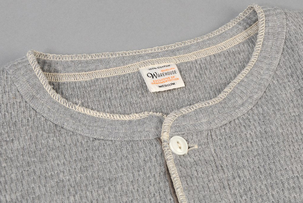 Warehouse-Henley-Waffle-Thermal-Shirt-front-collar