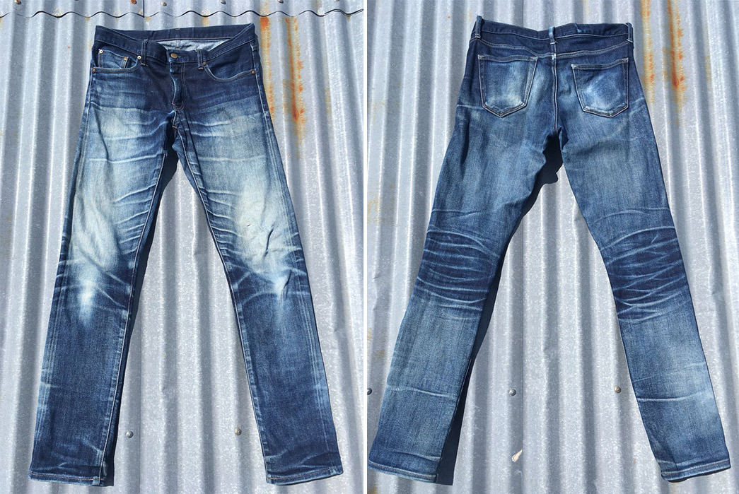 Fade-of-the-Day---Uniqlo-Stretch-Selvedge-(22-Months,-2-Washes,-11-Soaks)-front-back
